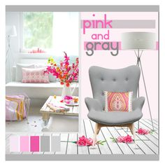 """""""pink and gray"""" by lgb321 ❤ liked on Polyvore featuring interior, interiors, interior design, home, home decor, interior decorating, LZF, Aeon, Dena Home and Pink"""