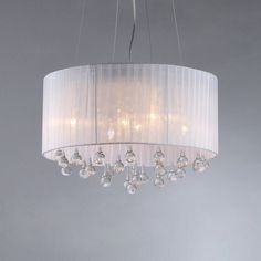 Shop Warehouse of Tiffany Crystal 18-in W Chrome Crystal Accent Pendant Light with White Shade at Lowes.com