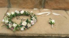 Fresh flower crown and buttonhole. Wrist Corsage, Flower Crowns, Fresh Flowers, Floral Design, Floral Wreath, Wreaths, Pink, Handmade, Hand Made