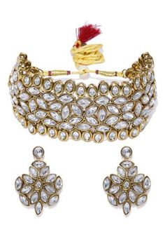 Shop White Alloy Austrian Diamond Necklace Set Earrings 199003 online from huge collection of indian ethnic jewellery at Indianclothstore.com. Ethnic Jewelry, Jewellery, Diamond Necklace Set, White Shop, Color Shades, Indian Ethnic, Indian Outfits, Earring Set, Bracelets