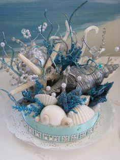 Coral Reef Seashell Cake Topper-Starfish Wedding Cake Topper-Under The Sea Beach Wedding Cake Topper