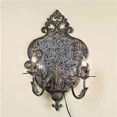 Portable Vintage Gray Damask Mirror Wall Sconce