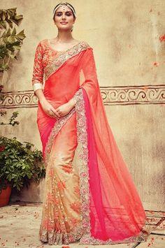 Indian Designer #Wedding Saree In Georgette, Net Fabric