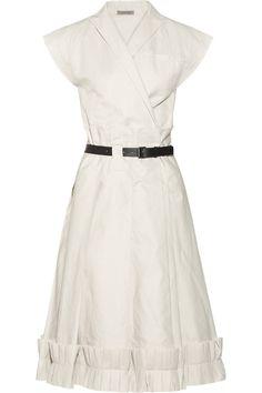 Bottega Veneta|Pleated cotton-blend twill wrap dress|NET-A-PORTER.COM