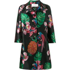 Valentino Tropical Dream oversized coat (125.840 RUB) ❤ liked on Polyvore featuring outerwear, coats, black, metallic coat, flower coat, oversized coat, summer coat and 3/4 sleeve coat