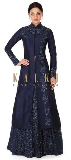 Buy this Navy blue lehenga with long embroidered jacket blouse only on Kalki