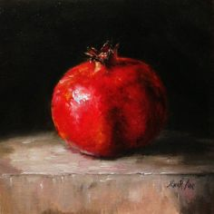 Still Life with Red Pomegranate Original Oil painting by Nina R.Aide by RomaGalleries, $68.00 canvas panel 8x8 inches.