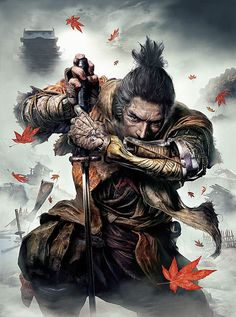 View an image titled 'Shinobi Promo Art' in our Sekiro: Shadows Die Twice art gallery featuring official character designs, concept art, and promo pictures. Brust Bauch Tattoo, Tattoo Bauch, Art Ninja, Samurai Warrior Tattoo, Arte Dark Souls, Ronin Samurai, Bushido, Samurai Artwork, Japanese Warrior