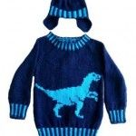 Dinosaur Sweater and Hat (Velociraptor) Knitting Pattern