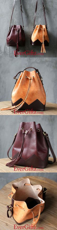 Overview: Design: Genuine Leather Handmade Handbag Crossbody Bag Shoulder Bag In Stock: 2-6 days to process orders Include: Only Shoulder Bag Custom: None Color: Dark Red, Light Brown Material: Cowhide Measures: 27cm x 24cm x 13cm Weight: 0.15kg Slots: 1 large slot Style: Genuine Leather Handbag Crossbody Bag Shoulder Bag Each item will...