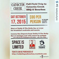 #Repost @teddybullydc  We're getting excited about our upcoming BBQ & Bourbon Fall Field Trip to Catoctin Creek Distilling Company! @catoctincreek Visit teddybbqandbourbon.eventbrite.com for more details! #bourbon #bbq #dc #dcevents #dining #teddyroosevelt #washingtondc #catoctincreek #distillery #spirits #drinks #food by catoctincreek