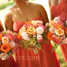 more coral bouquets... I like the dashes of green and orange.