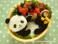 Another 'kyara-ben' (character bento) = San-x's 'Panda Days' Japanese Food Art, Japanese Lunch, Japanese Candy, Cute Food, Good Food, Yummy Food, Food Art Bento, Bento Recipes, Bento Ideas