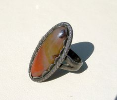 Vintage Bell Trading Post Moss Agate Ring by Oldtreasuretrunk, $48.00