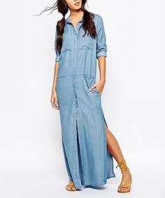 HaoDuoYi Blue Side-Slit Shirt Dress | zulily