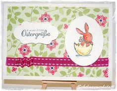Ostergrüße Karte mit Hasenmotiv grün pink weiß von Schelmenwerkstatt auf DaWanda.com