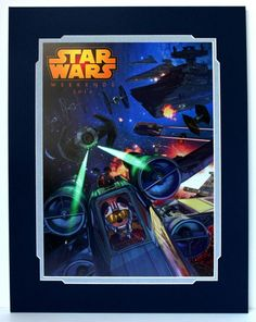 Now in Stock!! 2014 Disney Star Wars Weekends Logo X-Wing Mickey Matted Print Limited Release
