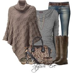 """""""Poncho and Riding Boots"""" created on Polyvore"""