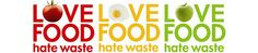 a red love food hate waste logo, a yellow love food hate waste logo, a green love food hate waste logo