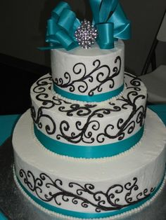 White, turquoise and black anniversary cake #turquoise #cake