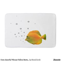 Cute cheerful Vibrant Yellow Butterfly Coral Fish Bath Mats