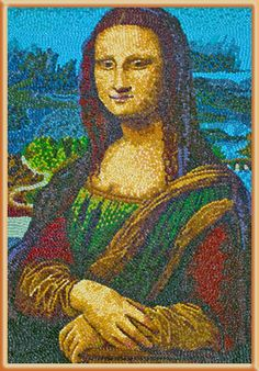 Mona Lisa  by Kristen Cumings --  Made completely from Jelly Belly jelly beans, artist Kristen Cumings recreated Leonardo Da Vinci's masterpiece with a sweet twist. The Jelly Belly Mona Lisa is reflective of what art historians believe the original colors may have looked like before almost 600 years of wear and tear.