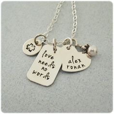Personalized Autism Necklace - Love Needs No Words