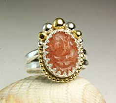 Sunstone Ring Sterling Silver Face Ring by TazziesCustomJewelry