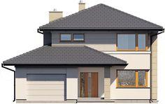 Elewacja frontowa projektu Karat Home Room Design, Bathroom Interior Design, House Design, Modern Family House, Sims House Plans, House Rooms, Bungalow, Gazebo, Garden Design