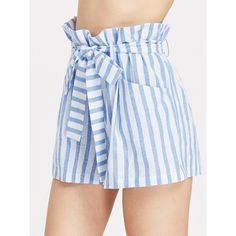 SheIn(sheinside) Belted Ruffle Waist Striped Shorts ($14) ❤ liked on Polyvore featuring shorts, blue, stripe shorts, loose fit shorts, loose high waisted shorts, blue high waisted shorts and high-waisted shorts