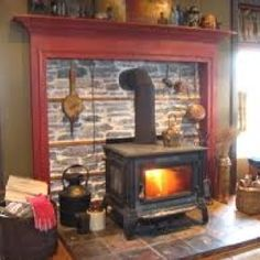 Hearth with woodstove