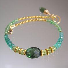 Emerald Vermeil Bracelet Apatite Beaded Bracelet by bellajewelsII