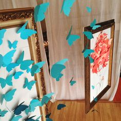 Spring Window Display hanging frames with paper and/or fabric...this is cool