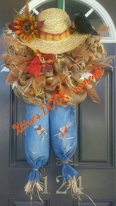 FREE SHIPPING Scarecrow Fall Wreath Fall by XtinesDOORnaments