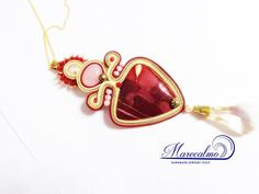 Mokaite marsala gemstone necklace soutache by Marecalmojewels