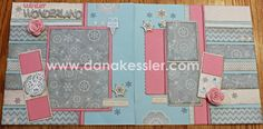 Two Page Winter Snow Scrapbooking layout Frosted Cricut Artbooking Art Philosophy CTMH #scraptabulous #ctmh #scrapbooking