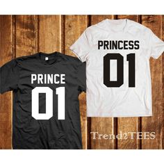 Prince and Princess couple shirts Tumblr (54 BGN) found on Polyvore featuring couple clothes, black t shirt, black tee, t shirts, black shirt and shirts & tops