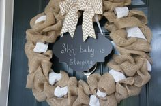 baby shower - chalkboard sign burlap wreath