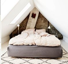 Simple attic room + brick wall