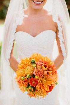 A gorgeous orange bridal bouquet.
