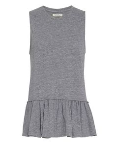 Nation EXCLUSIVE Ruffle Tank: Grey: The muscle tank heads takes a feminine directional approach with a ruffled hem. Sleeveless. In grey. Fabric: 50% polyester/38% cotton/12% rayon Made in USA.     Model Measurements: Height 5'8.5 ; Waist 24 ; Bust 33 wearing size S Length from shoulder to ...