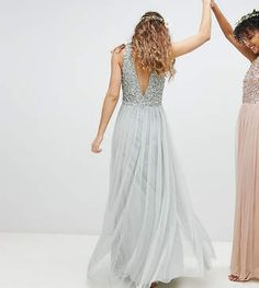 Maya Sleeveless Sequin Bodice Tulle Detail Maxi Bridesmaid Dress With Cutout Back | Prom Dress | Evening Dress | Gown | Wedding Dress -- Only $143.