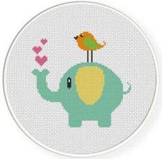 Elephant and Bird Cross Stitch Pattern