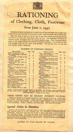 World war II ration chart for clothing. British History, History Facts, World History, Family History, World War Ii, American History, Asian History, Strange History, Tudor History