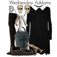 Wednesday Addams by leslieakay on Polyvore featuring WearAll, Hue, Underground, Givenchy, Blu Bijoux and Halloween