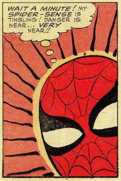 "Peter Parker's ""Spider-Sense"" was graphically indicated by lines radiating around his head. Steve Ditko innovated the comics medium by creating inspired shorthand symbols. AMAZING SPIDER-MAN (July Art by Steve Ditko Words by Stan Lee (via thecomicsvault) Comic Book Artists, Comic Book Characters, Marvel Characters, Comic Artist, Comic Books Art, Marvel Comics, Marvel E Dc, Spiderman Art, Amazing Spiderman"