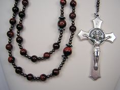 """Mens Rosary XXLong 29 3/4 inch Catholic Christmas RED Tiger Eye w/BLACK Necklace 3 """"St Benedict Crucifix Masculino Rosario Free Shipping USA by TheGemBeadLink on Etsy"""