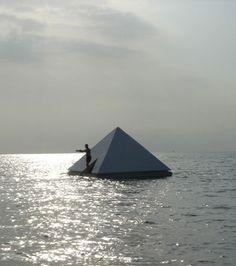 Pedro Reyes, Floating Pyramid, Wood structure and Styrofoam Bahia de Rincón, Puerto Rico, 2004