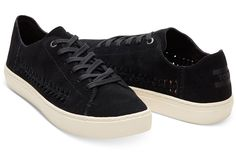 Toms Lenox sneaker zwart suède met geweven accent