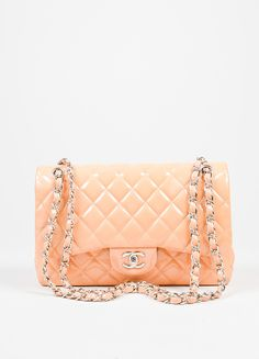 """Nude Chanel Patent Leather Quilted """"Classic Jumbo"""" Double Flap Shoulder Bag"""